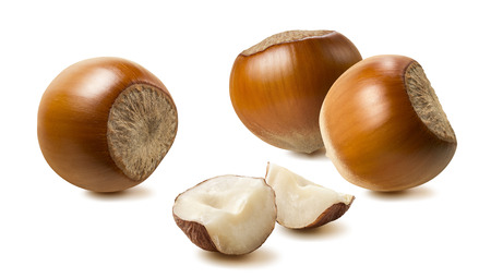 Hazelnut nut group pieces 2 isolated on white background as package design element Stok Fotoğraf
