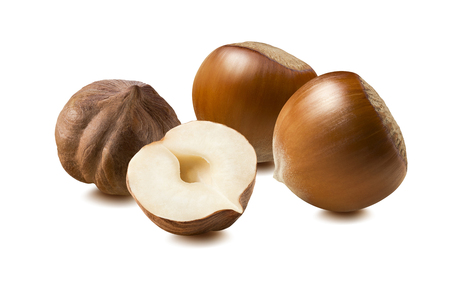 Hazelnut nut group whole half  pieces isolated on white background as package design element