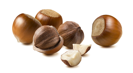 Hazelnut horizontal group isolated on white background as package design element