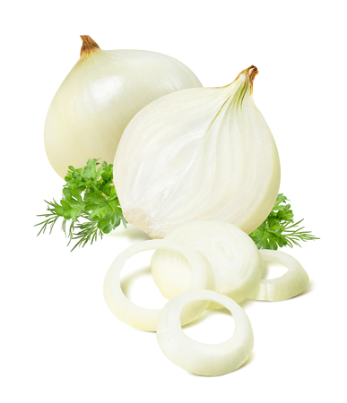 Peeled onion parsley dill isolated on white background as package design element Archivio Fotografico