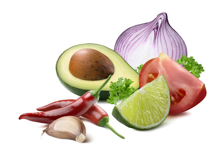 Guacamole avocado garlic lime red onion tomato ingredients isolated as package design element Banco de Imagens
