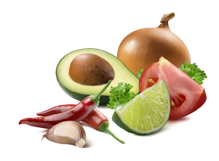Mexican guacamole avocado garlic lime yellow common onion tomato ingredients isolated on white background as package design element