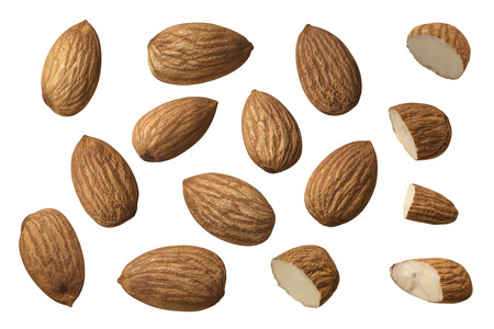 Almond nut set selection isolated on white background as package design element