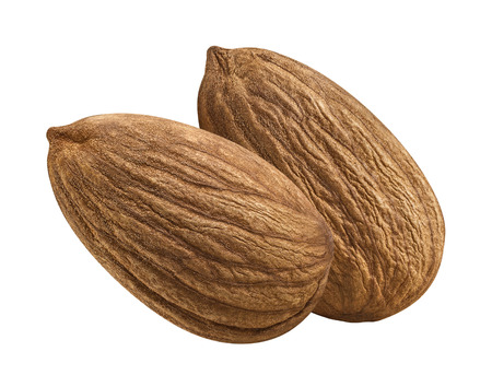 almond: Whole almond nut double isolated on white background as package design element Stock Photo