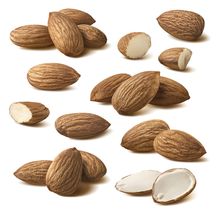 Almond composition set isolated on white background as package design element Archivio Fotografico