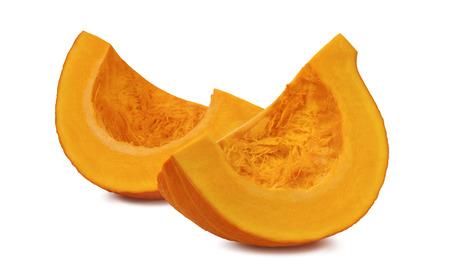 Pumpkin segment pieces isolated on white background as package design element Standard-Bild