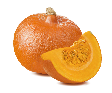 Pumpkin whole segment piece 2 isolated on white background as package design element 스톡 콘텐츠