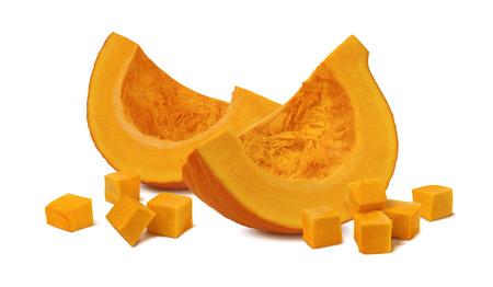 Pumpkin segment pieces cubes 2 isolated on white background as package design element Foto de archivo