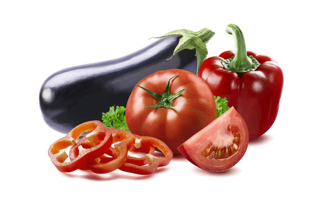 tomato slices: Eggplant, red bell pepper slices, tomato ratatouille country dish ingfedients isolated on white background as package design element Stock Photo