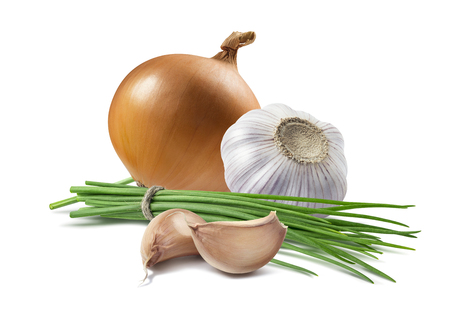 Yellow onion green scallion garlic isolated as package design element Фото со стока