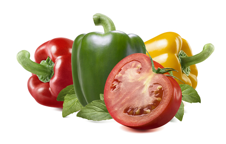 vegetables on white: Red yellow green bell sweet pepper tomato herbs isolated on white background as package design element