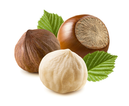 Hazelnut nut peeled whole leaves isolated on white background as package design element 版權商用圖片