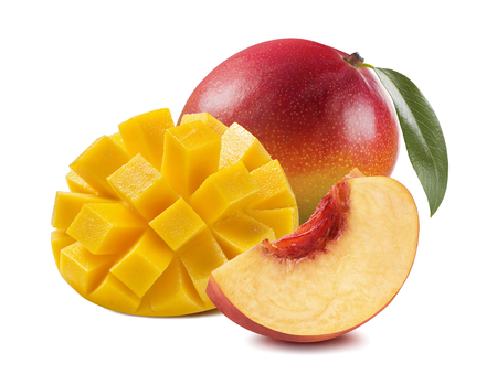 Mango cut peach pieces slices 4 isolated on white background as package design element Standard-Bild