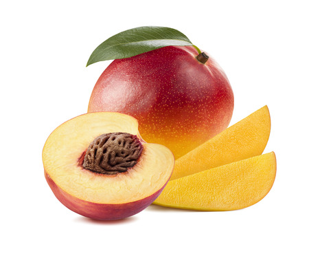 Mango slices peach half 3 isolated on white background as package design element