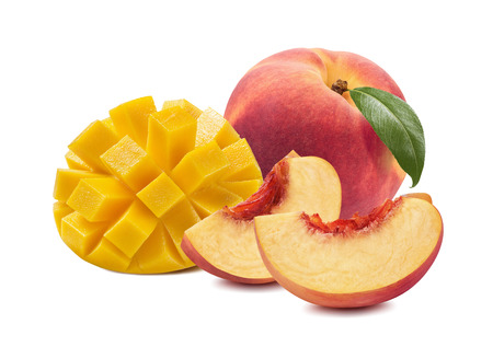 Mango peach whole slices fruit isolated on white background as package design element 스톡 콘텐츠