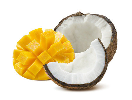 Coconut half mango cut isolated on white background as package design element
