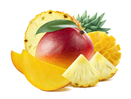 Mango pineapple round mix composition isolated on white background as package design element Foto de archivo