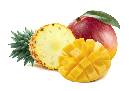 Mango pineapple tropical fruit mix isolated on white background as package design element Foto de archivo