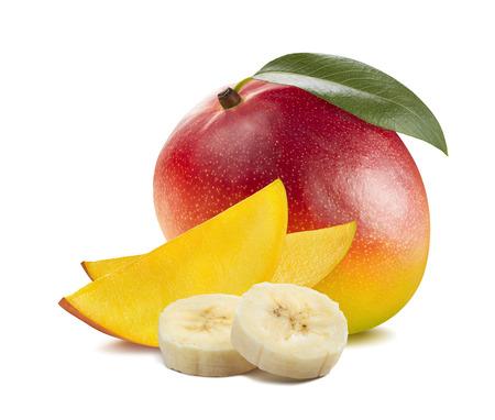 Whole mango banana 3 isolated on white background as package design element