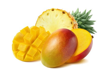Mango pineapple cut half isolated on white background as package design element 스톡 콘텐츠
