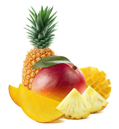 Mango fruit pineapple vertical stand isolated on white background as package design element Stockfoto