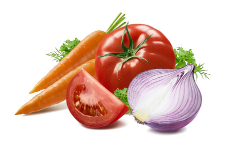 Carrot tomato herbs red onion isolated on white background as package design element