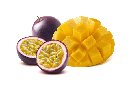 Mango cut maraquia passion fruit isolated on white background as package design element Stok Fotoğraf