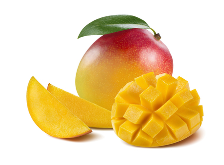 Mango composition cut piece slice isolated on white background as package design element