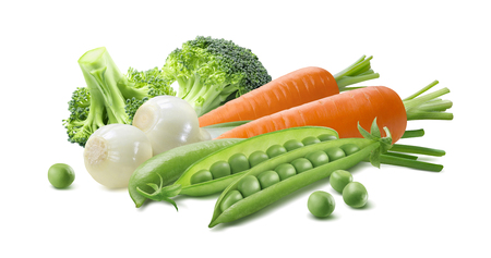 pea: Green vegetable, spring onion, broccoli, peas, carrot 2 isolated on white background