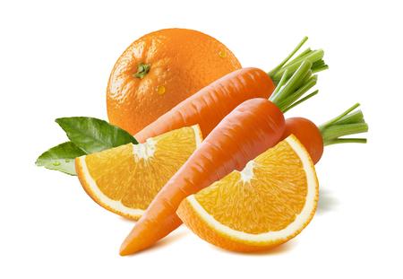 fruit orange: composición de zanahoria fruta de naranja aislado sobre fondo blanco como elemento de diseño de paquete Foto de archivo