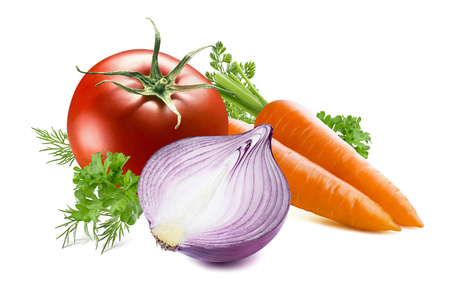 tomates: Carrot oignon jaune herbe tomate aneth persil isolé sur fond blanc comme élément de design de l'emballage