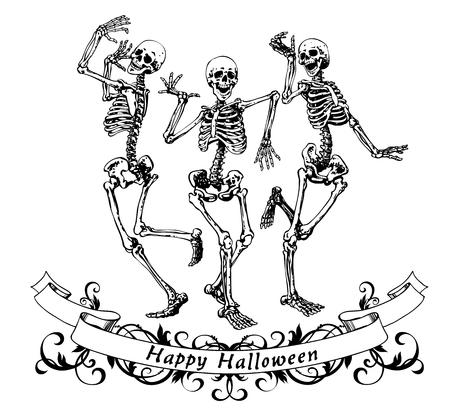 Gelukkig halloween dansende skeletten geïsoleerd vector illustratie, contour afbeeldingen voor posters en banners
