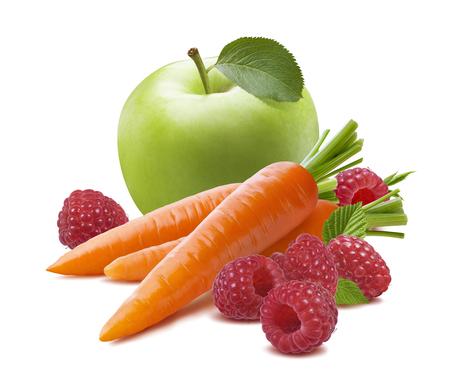 green vegetable: Green apple carrot raspberry fruit vegetable isolated on white background as package design element