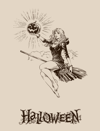 pretty smile: Blond halloween witch with pumpkin flying on broom vector illustration, vintage visual for poster, banner, mail, invitations