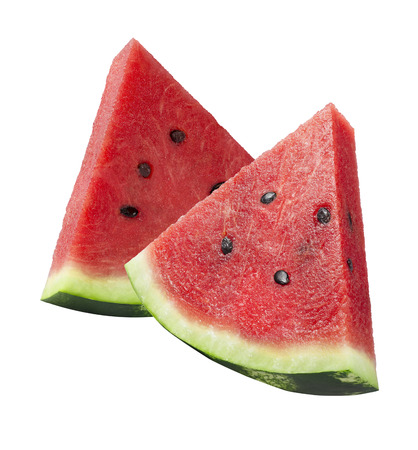 Watermelon cut pieces isolated on white background as package design element 2