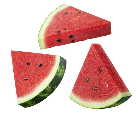 Watermelon slices pieces set isolated on white background as package design element