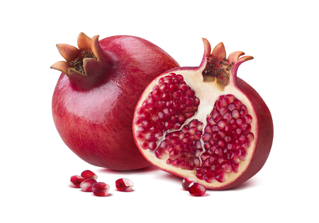 Whole pomegranate half seeds isolated on white background as package design element