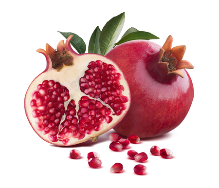 Pomegranate whole and half cut leaves seeds isolated on white background as package design element