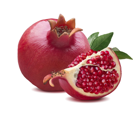 Whole pomegranate quarter piece composition isolated on white background Stok Fotoğraf - 63751119