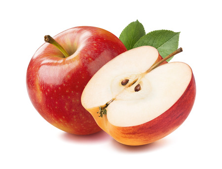 Rode appel hel en half stuk geïsoleerd op witte achtergrond als pakket design element Stockfoto