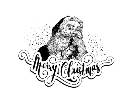 Vintage Santa Claus retro vector illustration for christmas cards and layouts