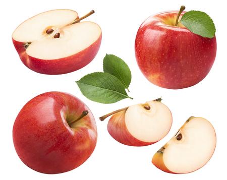 Rode appel gehele stukken geplaatst die op witte achtergrond als element van het pakketontwerp worden geïsoleerd Stockfoto