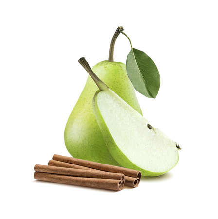 Green pear cinnamon isolated on white background as package design element