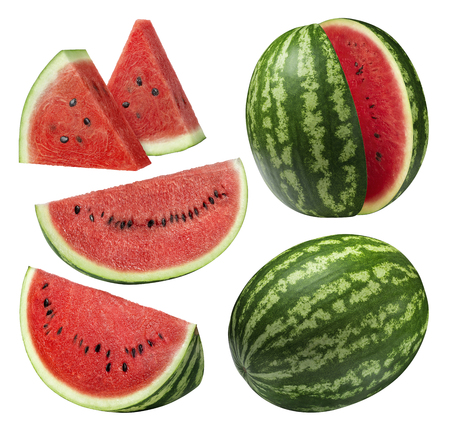 Watermelon pieces set isolated on white background as package design element 스톡 콘텐츠