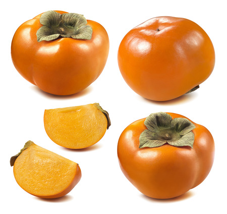 Persimmon sharon pieces set isolated on white background as package design element Stock Photo