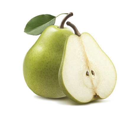 Fresh green pear half isolated on white background as package design element