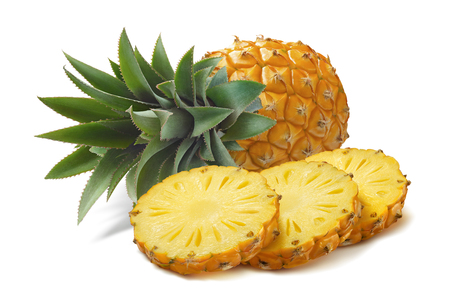 Horizontal pineapple and round slices isolated on white background as package design element