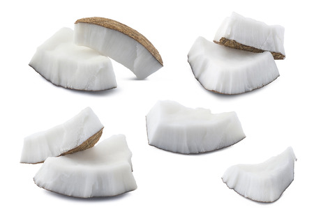 Coconut set pieces 3 isolated on white background as package design element Foto de archivo
