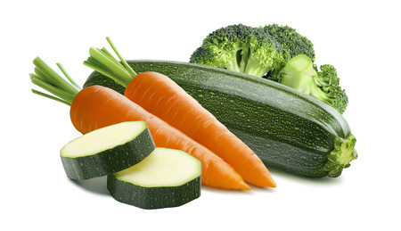 Zucchini carrots broccoli isolated on white background as package design element