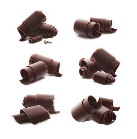 Chocolate curls shavings isolated on white background as package design element